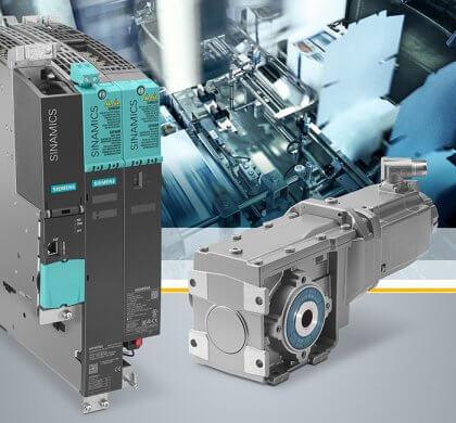Siemens erweitert sein umfassendes Antriebsportfolio für Servoapplikationen um den Servogetriebemotor Simotics S-1FG1, der passgenau auf das Umrichtersystem Sinamics S120 abgestimmt ist. Die durchgängige Einbindung dieses Antriebssystems in Totally Integrated Automation (TIA) erlaubt eine einfache Projektierung und InbetriebnahmeSiemens has expanded its extensive drive portfolio for servo applications to include the Simotics S-1FG1 servo geared motor that is optimally harmonized with the Sinamics S120 converter system. The complete integration of this drive system into Totally Integrated Automation (TIA) makes configuration and commissioning easy.